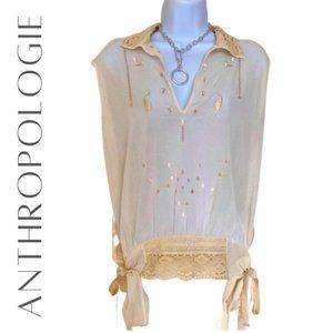 ANTHROPOLOGIE 🌺 Brand Tiny Crocheted Blouse, XS